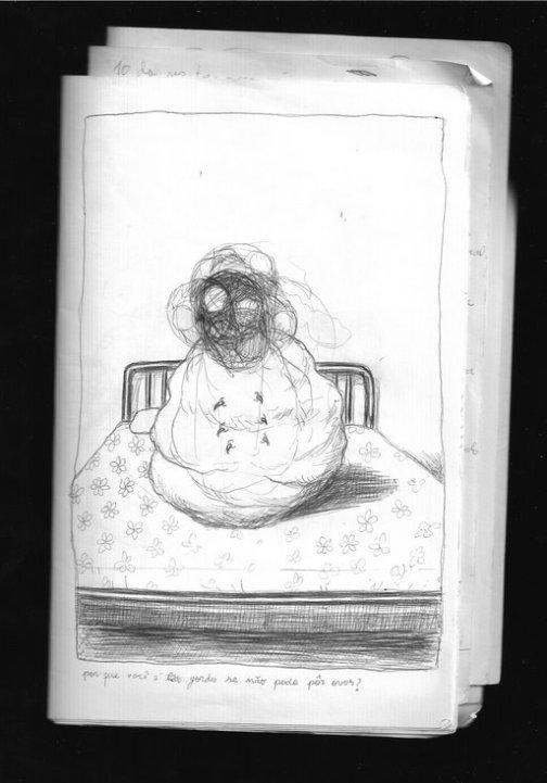 Bololô bizarro em cima de uma cama com tampa de scanner aberta, por Daniel Liberalino.
